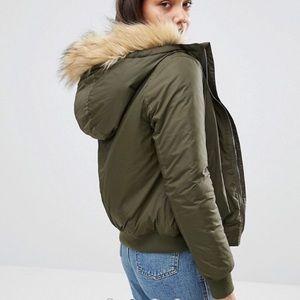 Fur Hooded Bomber Jacket